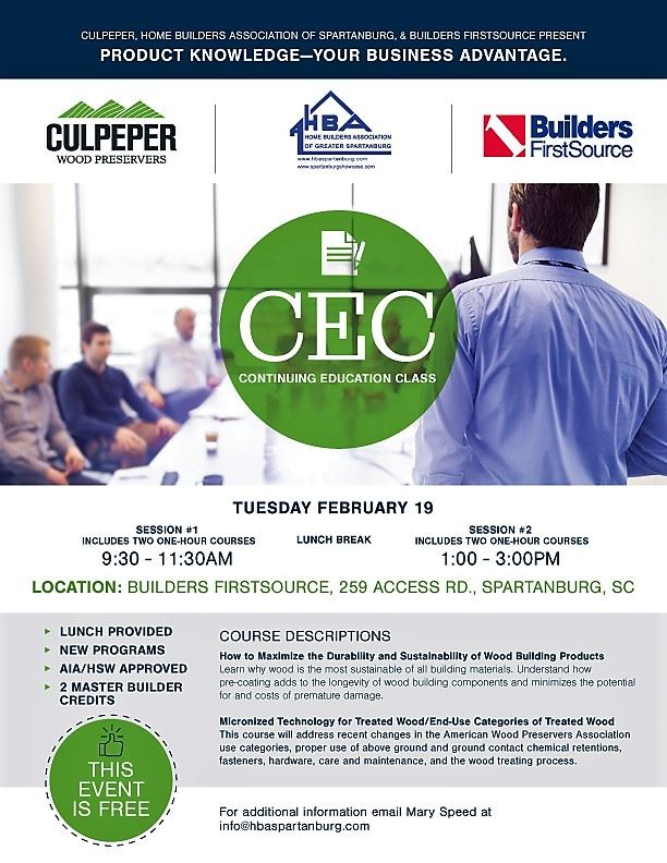 HBA of Greater Spartanburg - 2019 February Culpepper